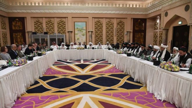 تصویر از دور هشتم مذاکرات میان نمایندگان آمریکا و گروه طالبان آغاز میشود
